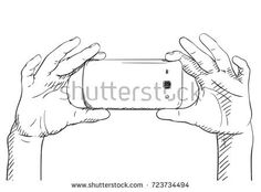Sketch of hands taking photo with smartphone, Hand drawn vector illustration with hatched shade isolated on white background