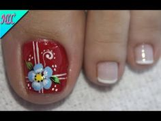 Toe Nail Flower Designs, Flower Nail Art, Acrylic Nail Designs, Nail Art Designs, Art Flowers, Pretty Toe Nails, Pretty Toes, Manicure, French For Beginners