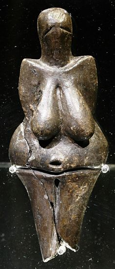 The Venus of Dolni . Vestonice is a Venus figurine. Ceramic statuette of a nude female figure dated  29 000 – 25 000 BP , which was found at a Paleolithic site in the Moravian basin south of Brno. This figurine ( together with a few others from nearby locations) is the oldest known ceramic in the world, predating the use of fired clay to make pottery.