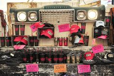our ThELMA & LouiSE section in the gypsy tent! DIY: locker baskets used as shelves!