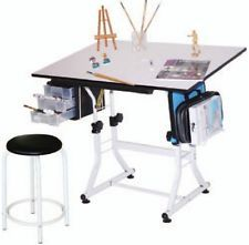 Adjustable Drawing Board & Stool Adjustable Height & Tilt Artist Table Easel New