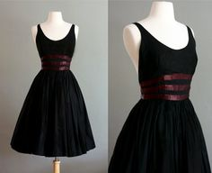 50's XS/S Black Low Cut Organdy Party DRESS by flourclothing, $214.00