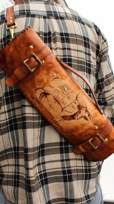 Longhorn cow leather knife roll Chef Knife Case 032b4c30049d