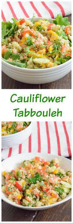 Cauliflower Tabbouleh - easy low fat, low carb recipe full of flavor. Perfect side dish for any occasion. Paleo,vegan, whole30 approved.