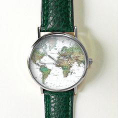 Green Earth World Map Watch,Vintage Style Leather Watch, Women Watches,Unisex Watch,Boyfriend Watch,Men's Watch,