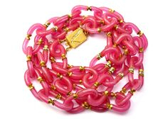 Vintage Archimedes Seguso for Chanel long raspberry pink glass link necklace by PipitVintage on Etsy https://www.etsy.com/listing/214595561/vintage-archimedes-seguso-for-chanel