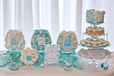 Elegant Tiffany Blue Candy or Dessert Buffet Printable Package. Customized just for you. Wedding Receptions, Bridal Showers and more. via Etsy Tiffany Blue Weddings, Tiffany Theme, Tiffany Party, Tiffany Wedding, Blu Tiffany, Candy Buffet Tables, Dessert Buffet, Candy Table, Breakfast Buffet
