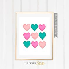 Pink and Teal Heart.... PRINTABLE ART.  You will receive 4 JPG Files sizes 5x7, 8x10, 11x14 and 16x20. This listing is for an INSTANT DOWNLOAD files. NO PHYSICAL ITEMS WILL BE SHIPPED This listing is for a digital file to be download. After your payment is processed go to your Etsy account and look for Purchases click on the download button. If you have any problems please let me know.  Downloading a Digital Item: https://www.etsy.com/help/article/3949  --------------...