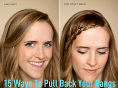 15 Ways to Pull Back Your Bangs from SixSistersStuff.com #Beauty #Hair