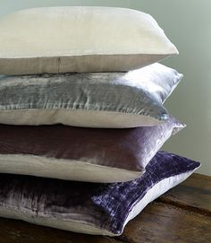 Silk velvet linen backed cushions