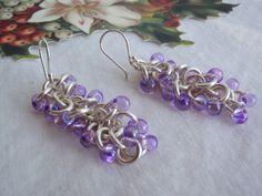 #hippiep #blackfridaysale Earrings Shaggy Loops Silver with Purple Magatama by cutterstone, $15.00