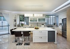 Elegant chandelier - by GalileeLighting - contemporary - kitchen lighting and cabinet lighting - miami - Galilee Lighting Stained Glass Lighting, Kitchen Island Lighting, Contemporary Kitchen, Linear Pendant Lighting, Large Pendant Lighting, Kitchen, White Light Fixture, Modern Kitchen Island, Elegant Chandeliers