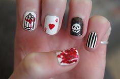 My Tim Burton Inspired Nails.    Sweeney Todd, Sleepy Hollow, Alice In Wonderland, The Nightmare Before Christmas, Beetlejuice