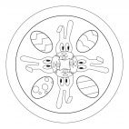 Easter Bunny and Easter Egg mandala to print and color from www.kigaportal.com