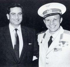 retrobollywood:  Raj Kapoor with first spaceman Yuri Gagarin