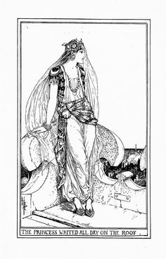 The Princess Waited All Day on the Roof - The Pink Fairy Book by Andrew Lang, 1897 Ex Libris, Black And White Books, Black White, Children's Book Illustration, Book Illustrations, Colouring Pages, Fairy Coloring, Art Inspo, Line Art