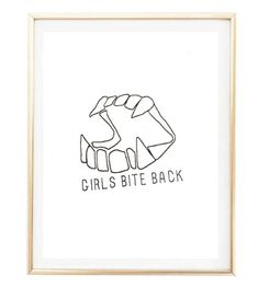 girls bite back quote city boho Typographic Print print wall decor Typography brandy melville sign poster framed quote tumblr room decor by AngiesPrints on Etsy https://www.etsy.com/listing/263149633/girls-bite-back-quote-city-boho