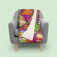 «African Style No14, Tribal dance» - This numbered edition Throw Blanket, designed by DistinctyDesign, comes with a numbered and signed certificate of au...