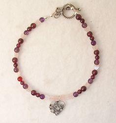 Valentine's Bracelet-Rose Quartz, Garnet, Amethyst, Heart Charm