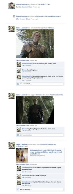 Happy Place wonders what would happen if the Game of Thrones cast swapped house sigils for Facebook pages. The result is hysterical.