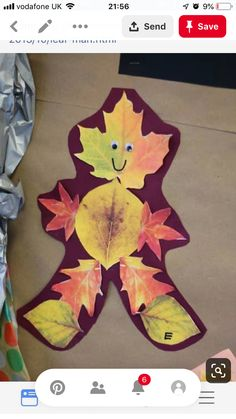 "Today we read a very fun story entitled ""Leaf Man"" by Lois Ehlert. Afterwards we went on a leaf hunt to see how many different kinds of lea. Fall Arts And Crafts, K Crafts, Leaf Crafts, Daycare Crafts, Autumn Crafts, Autumn Art, Autumn Theme, Crafts For Kids, Autumn Leaves"