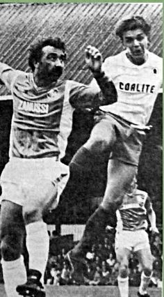 Gillingham 1 Chesterfield 1 in Sept 1985 at Priestfield Stadium. Derek Hales tries to get a head on the ball in the 3rd Division draw.