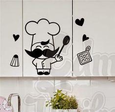 Click sobre la imágenes para ampliarla    Vinilo Decorativo Cocinero/Chef con accesorios de cocina.   Medidas Plancha: 30x35cm - 59x48cm    ...
