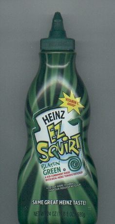 Here's a blast from the past that didn't last long: Heinz Green Ketchup! They used to have purple too!