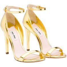 Miu Miu Sandals - perfect metallic gold ankle strap stilettos