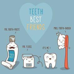 Όλοι έχουμε τους καλύτερους μας φίλους. Ετσι και τα δόντια μας!! E-Dentistry Dental Humor, Dental Hygiene, Dental Care, Dental Surgery, Dental Implants, Dental Kids, Children's Dental, Dental Images, Dental Posters