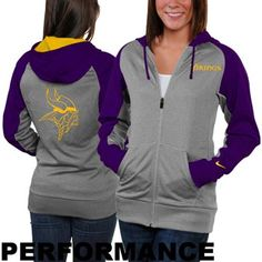 Nike Minnesota Vikings Ladies Die-Hard Full Zip Performance Hoodie - Ash/Purple