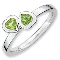 0.56ct Silver Stackable Peridot Double Heart Band. Sizes 5-10 Available Jewelry Pot. $28.99. 30 Day Money Back Guarantee. Fabulous Promotions and Discounts!. 100% Satisfaction Guarantee. Questions? Call 866-923-4446. All Genuine Diamonds, Gemstones, Materials, and Precious Metals. Your item will be shipped the same or next weekday!. Save 62% Off!