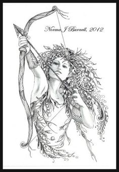 The Archeress - Elf - Zentangle - Doodle (By Norma Burnell 2012)