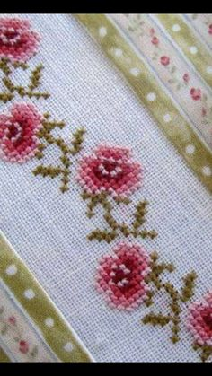 Floral cross stitch pincushion by GraceAndWhimsy on Etsy Xmas Cross Stitch, Cross Stitch Bookmarks, Cross Stitch Rose, Cross Stitch Borders, Cross Stitch Flowers, Cross Stitch Designs, Cross Stitching, Cross Stitch Patterns, Beaded Embroidery