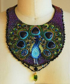 PEACOCK~Dreaming of a Peacock - Bead Embroidered Statement Necklace, Beaded Bib Necklace, Purple Collar Beaded Necklace. $525.00, via Etsy.