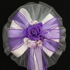 Purple Rose Floral Wedding Pew Bows Church by PackagePerfectBows, $7.99