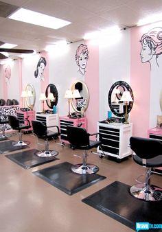 I love the decor in this hair salon.