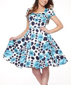 Look at this White & Blue Floral Big-Dot Sweetheart Dress on #zulily today!