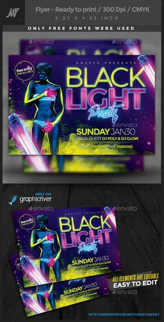 Black Lights Party Flyer Template PSD. Download here: http://graphicriver.net/item/black-lights-party-flyer/14591994?ref=ksioks