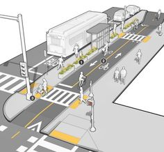 cycle path & floating bus stop in Mass DOT's Separated Bike Lane Guide. Click image for link to full guide and visit the… Urban Design Concept, Urban Design Diagram, Urban Design Plan, Bus Stop Design, Parque Linear, Public Space Design, Public Spaces, Urban Analysis, Urban Architecture