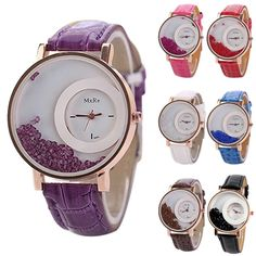 Simple Mode Women's Crystal Rhinestone PU Two Round Analog Quartz Wrist Watch