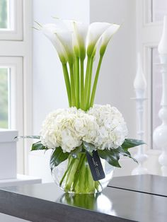 luxury cars - Luxury Calla Lily & Hydrangea Vase This contemporary designer arrangement is right on trend We've chosen ultrafashionable calla lilies in pristine white and created a surround of sumptuous hydrangea blooms with their richly textured flowers Hydrangea Vase, Hydrangea Not Blooming, Flower Vases, Bouquet Flowers, White Hydrangeas, Hydrangea Garden, Vase For Flowers, Lilies Flowers, Lily Bouquet