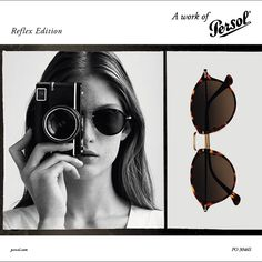 Persol presents Reflex Edition, a collection inspired by the vintage style photo camera. Persol, Review Fashion, Fashion Branding, Fashion Photo, Round Sunglasses, Vintage Fashion, Eyes, Style, Fashion Eyewear