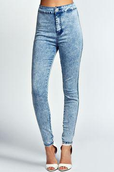 Boohoo High Waisted Skinny Jeans @boohoo #highwaistedjeans