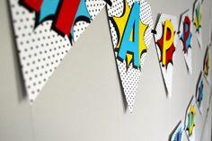Retro Superhero Birthday Banner by printylittlethings on Etsy