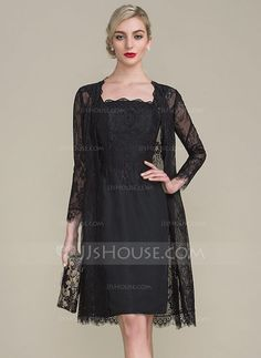 [US$ 99.99] Sheath/Column Strapless Knee-Length Chiffon Lace Mother of the Bride Dress (008102703)