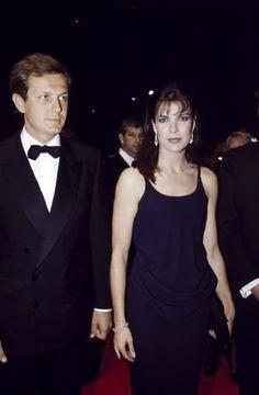 Beautiful & Elegant Princess Caroline of Monaco with her Handsome husband Stefano Casiraghi.  late 1980s.