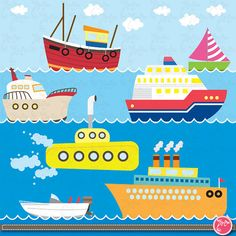 Transportation clip art ,Cute Vehicles,Sea Vehicle transport set perfect for Scrapbook, Cards, Invitations,Personal and Commercial Use Ts005...