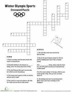 winter olympics worksheets winter olympic crossword puzzle february pinterest winter. Black Bedroom Furniture Sets. Home Design Ideas