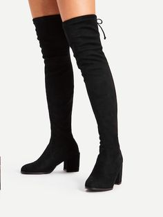 dce1a9eb845 Tie Back Over Knee Block Heeled Boots -SheIn(Sheinside) Block Heel Boots